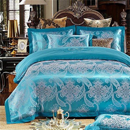 100% Baumwolle, verdecktem Reißverschluss Stickerei Satin Jacquard dekorative Schlafzimmer Bettwäsche Blatt Satz von 4 Größe Queen / King , #04