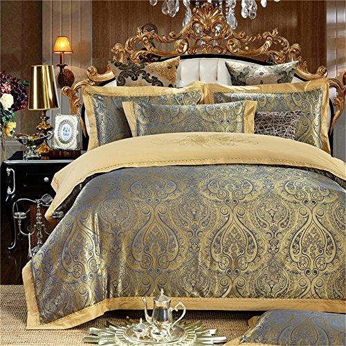 100% Baumwolle, verdecktem Reißverschluss Stickerei Satin Jacquard dekorative Schlafzimmer Bettwäsche Blatt Satz von 4 Größe Queen / King , #08