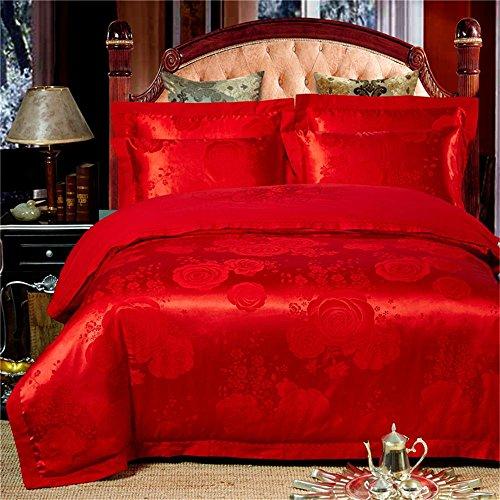 100% Baumwolle, verdecktem Reißverschluss Stickerei Satin Jacquard dekorative Schlafzimmer Bettwäsche Blatt Satz von 4 Größe Queen / King , #10