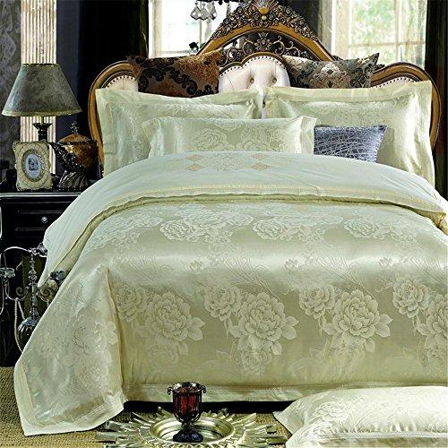 100% Baumwolle, verdecktem Reißverschluss Stickerei Satin Jacquard dekorative Schlafzimmer Bettwäsche Blatt Satz von 4 Größe Queen / King , #15