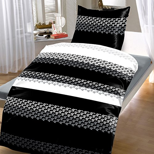 24tlg microfaser bettw sche klassisch gestreift modern 2x 135x200 cm 2x 80x80 cm 4 tlg set. Black Bedroom Furniture Sets. Home Design Ideas