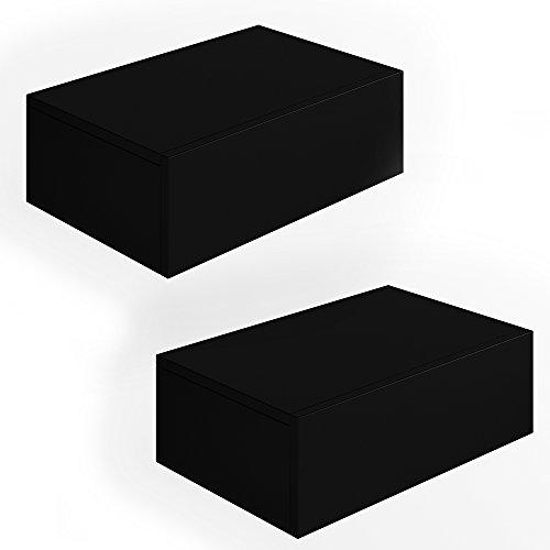 2x Nachttisch Kommode Nachtschrank Schublade Ablage Schrank Schlafzimmer Schwarz