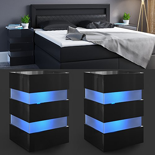 2x nachttisch set led 70cm hoch f r boxspringbett schwarz. Black Bedroom Furniture Sets. Home Design Ideas