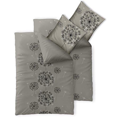 4-tlg. Bettwäsche Baumwolle 2x 135 x 200 cm | CelinaTex 0003958 Fashion Florence grau schwarz Wendedesign