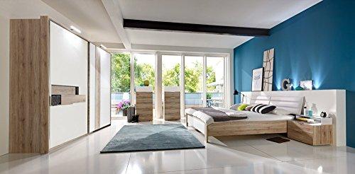 4 tlg schlafzimmer in san remo eiche nachbmit schrankfront bettpolster und abs in alpinwei. Black Bedroom Furniture Sets. Home Design Ideas