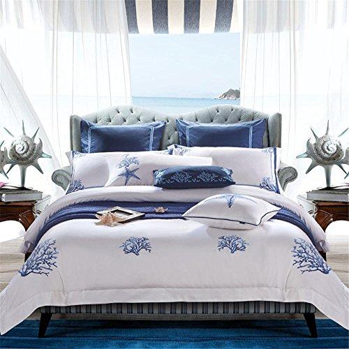 60er Jahre langstapelige Baumwolle hoher Wert und hoher Dichte reiner Baumwolle satin Stickerei nach Hause Schlafzimmer adult Bettwäsche vier Stück Größe Königin