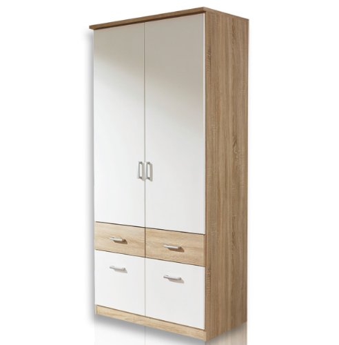 ap691 or95 kleiderschrank jugendzimmerschrank schrank bremen 2trig in eiche sgerau dekor weiss. Black Bedroom Furniture Sets. Home Design Ideas