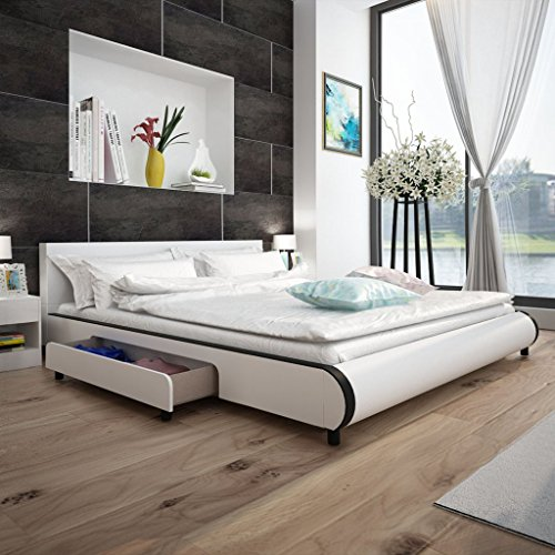 anself polsterbett doppelbett bett ehebett aus kunstleder mit 2 schubladen 180x200cm ohne. Black Bedroom Furniture Sets. Home Design Ideas