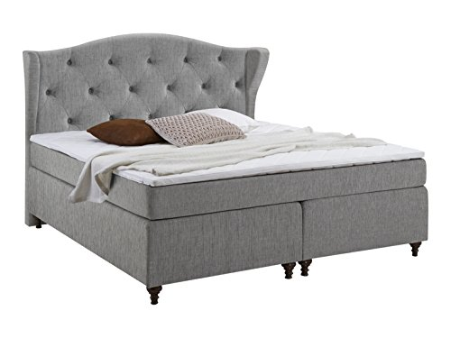 Atlantic Home Collection FELIX140-02 Boxspringbett, Stoff, hellgrau, 207 x 140 x 132 cm