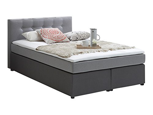 atlantic home collection rudi140 01 boxspringbett stoff liegefl che 140 x 200 cm grau. Black Bedroom Furniture Sets. Home Design Ideas
