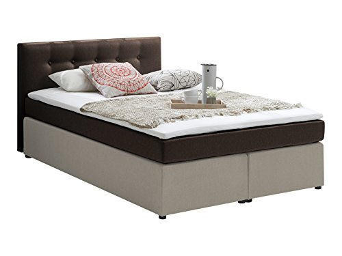 Atlantic Home Collection RUDI140-02 Boxspringbett Stoff, Liegefläche 140 x 200 cm,  braun