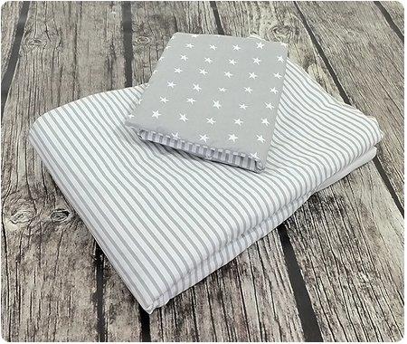 Baby Bettwäsche Design: Sternchen GRAU Größe 100x135 cm (40x60 cm) Bettset Kinderbettwäsche