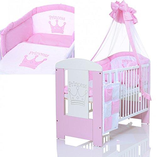 baby kinderbett princess 120x60 cm weiss rosa mit 9 teiligen bettw sche komplettset und matratze. Black Bedroom Furniture Sets. Home Design Ideas
