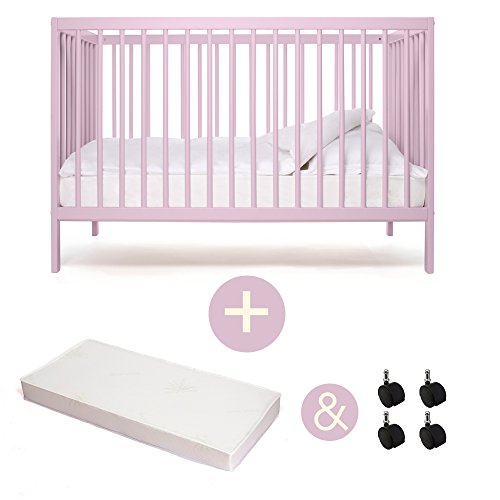 babybett kinderbett kombi kinderbett mokee ivory plum mit matratze mit rollen kologisch 0. Black Bedroom Furniture Sets. Home Design Ideas