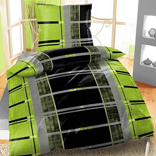 Baumwoll Bettwäsche Seersucker 135x200 2-teiliges Set Streifen Grün