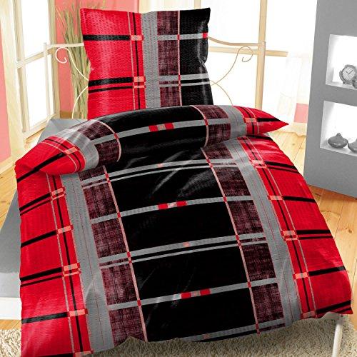 Baumwoll Bettwäsche Seersucker 135x200 cm 4-teiliges Set Karo Streifen Rot
