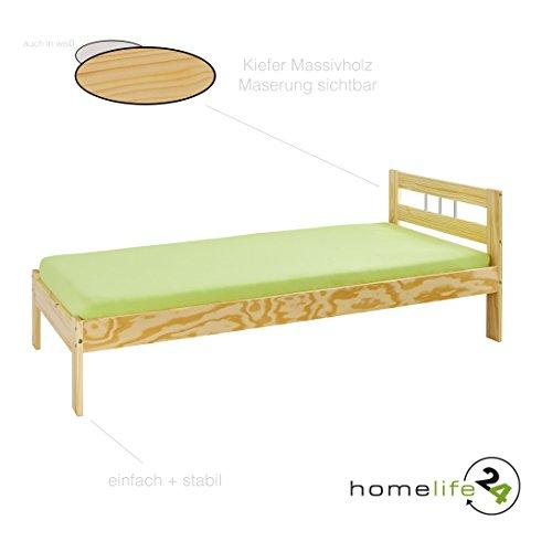 Bett Doppelbett Einzelbett Holzbett Massivholzbett weiß natur lackiert Kiefer massiv