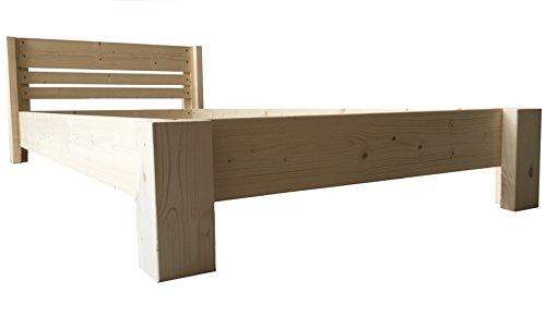 Bett Holz massiv mit Kopfteil Designbett Holzbett 90 100 120 140 160 180 200 x 200cm hergestellt in BRD Massivholzbett