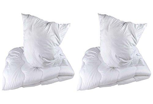 Betten Set Microfaser Decke + Kissen Kopfkissen Bettdecke 135x200 / 80x80 cm 2-teilig oder 4-teilig
