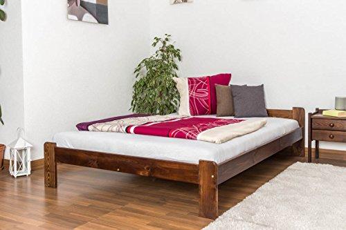 Bettgestell / Gästebett Kiefer Vollholz massiv Nussfarben A8, inkl. Lattenrost - Abmessungen: 140 x 200 cm