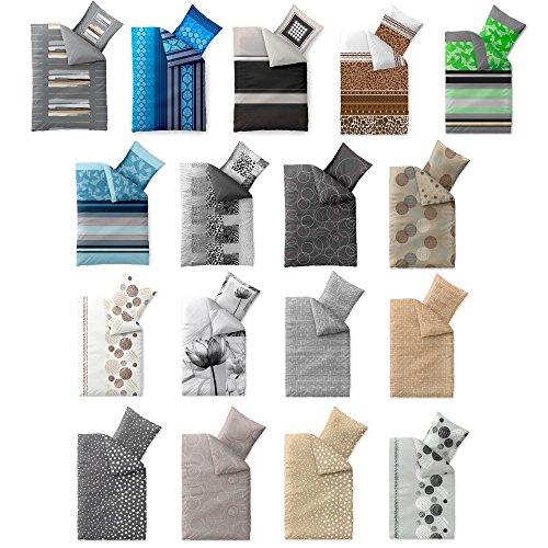 bettw sche baumwolle trend fara punkte streifen natur beige blau braun wendedesign aqua. Black Bedroom Furniture Sets. Home Design Ideas