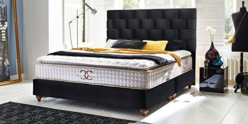 boxspringbett 180x200 160x200 schwarz velour z rich hotelbett doppelbett taschenfederkern. Black Bedroom Furniture Sets. Home Design Ideas