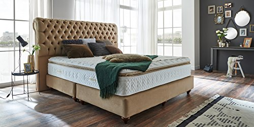 boxspringbett 180x200 beige velour montana hotelbett. Black Bedroom Furniture Sets. Home Design Ideas