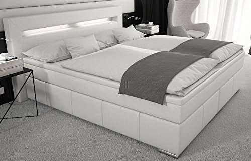 boxspringbett 180x200 cm led kunstleder weiss boxspringbetten. Black Bedroom Furniture Sets. Home Design Ideas