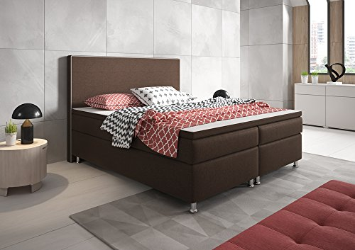 boxspringbett king size xl polsterbett boxspringbetten betten 180x200 cm braun inkl topper 0. Black Bedroom Furniture Sets. Home Design Ideas