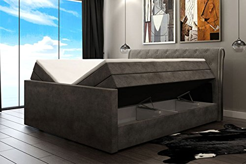 boxspringbett london 180x200 bettkasten mit liftfunktion kopfteil im chesterfield look. Black Bedroom Furniture Sets. Home Design Ideas