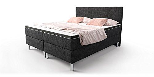 boxspringbett schwarz doppelbett hotelbett cosmo webstoff fein ehebett bonellfederkern topper. Black Bedroom Furniture Sets. Home Design Ideas