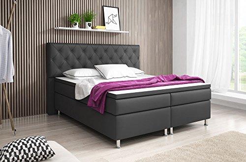 boxspringbett turin doppelbett amerikanisches bett hotelbett 180x200 cm kunstleder anthrazit 0. Black Bedroom Furniture Sets. Home Design Ideas