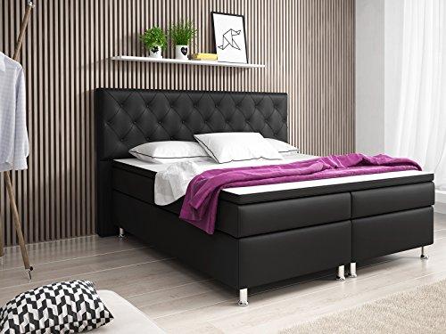 boxspringbett turin doppelbett amerikanisches bett hotelbett 180x200 cm kunstleder schwarz. Black Bedroom Furniture Sets. Home Design Ideas
