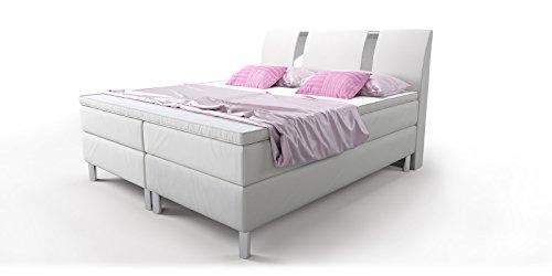 boxspringbett wei doppelbett hotelbett arizona kunstleder ehebett bonellfederkern topper. Black Bedroom Furniture Sets. Home Design Ideas