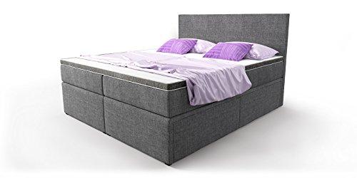 boxspringbett mit bettkasten schubkasten grau stoff elisa doppelbett hotelbett taschenfederkern. Black Bedroom Furniture Sets. Home Design Ideas