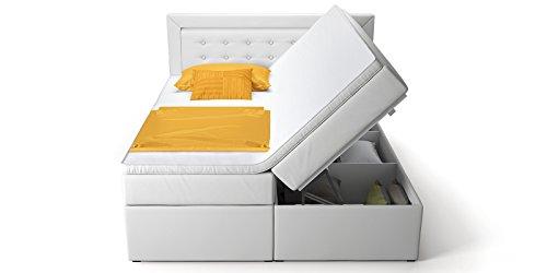 boxspringbett mit bettkasten wei celia2 doppelbett hotelbett topper taschenfederkern m bel24. Black Bedroom Furniture Sets. Home Design Ideas