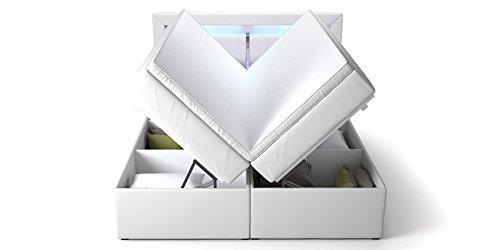 boxspringbett mit bettkasten wei sofia2 led beleuchtung. Black Bedroom Furniture Sets. Home Design Ideas