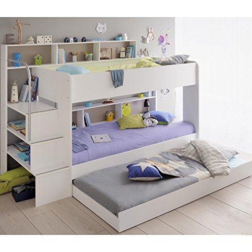 cravog etagenbett stockbett hochbett 3 x liegefl chen 90x200 cm kinderzimmer weiss boxspringbetten. Black Bedroom Furniture Sets. Home Design Ideas