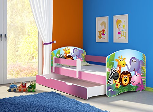 clamaro fantasia pink kinderbett mit rausfallschutz 38. Black Bedroom Furniture Sets. Home Design Ideas
