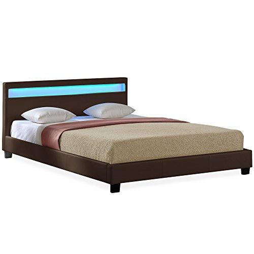 Corium LED Polsterbett |Paris| (7 verschiedene Farben)(140 | 160 | 180 | 200 x 200cm) modernes Bett / PU-Kunstleder / mit Lattenrost /