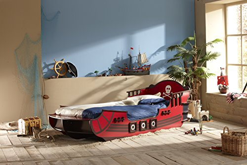 Demeyere 249501 Piraten Bett, Crazy Shark, MDF, 90 x 190 / 200 cm, rot