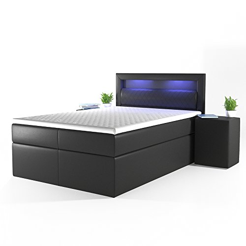 design boxspringbett led doppelbett bett hotelbett ehebett 140x200 cm schwarz boxspringbetten. Black Bedroom Furniture Sets. Home Design Ideas