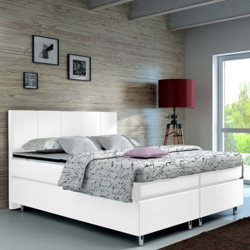 designer lederlook boxspringbett mit chromleisten. Black Bedroom Furniture Sets. Home Design Ideas