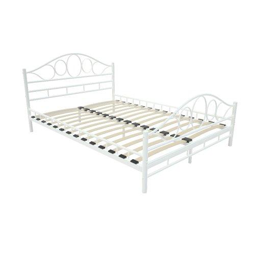 Doppelbett Metallbett mit integriertem Lattenrost in weiss Bettgestell Größenwahl 140x200cm oder 180x200cm