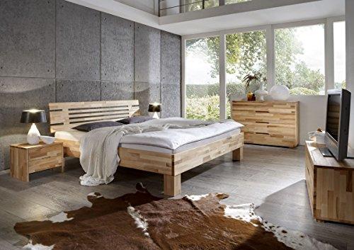 Dreams4Home, Schlafzimmerkombination, Bett, Massivholz, Buche 'Firenze' 90, 100, 120, 140, 160, 180, 200x200 cm, Kommode, Nachttisch