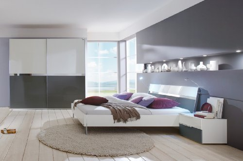 Dreams4Home Schlafzimmerkombination 'Kyra II', Schrank, Bett, 2 x Nachtschrank, Schlafzimmer komplett, weiß / grau, Liegefläche:180x200 cm
