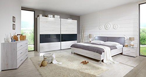 Dreams4Home Schlafzimmerkombination 'Light', Schlafzimmer, Bettgestell, Weißeiche, Vintage, Bettrahmen, Nachtschrank, Kleiderschrank, Schwebetürenschrank, Kommode, Liegefläche:180x200 cm