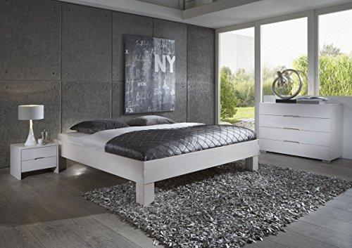 Dreams4Home Schlafzimmerkombination Massivholzbett, Bett, Massivholz, Buche 'Palermo' 90, 100, 120, 140, 160, 180, 200x200 cm, weiß