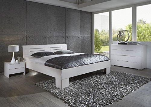 Dreams4Home Schlafzimmerkombination 'Modena', Bett, Massivholz, Buche, 90, 100, 120, 140, 160, 180, 200x200 cm, weiß gebeizt