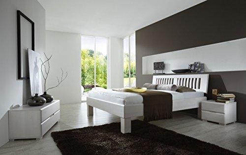 Dreams4Home Schlafzimmerkombination 'Paris', Massivholzbett, Bett, Massivholz, Buche, weiß, 90, 100, 120, 140, 160, 180, 200x200 cm, Doppelbett
